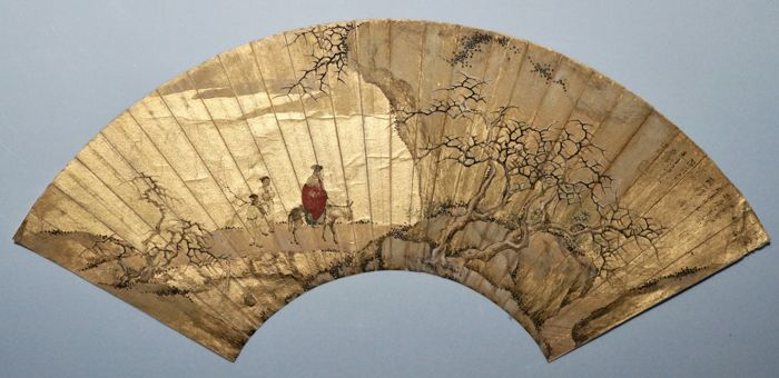 Very Fine Fan Painting of Winter Landscape - China - ca. 19th Century