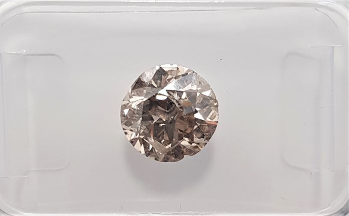 1.34ct Natural Round Brilliant Cut Diamond Fancy Intense Brown I1 - No Reserve!