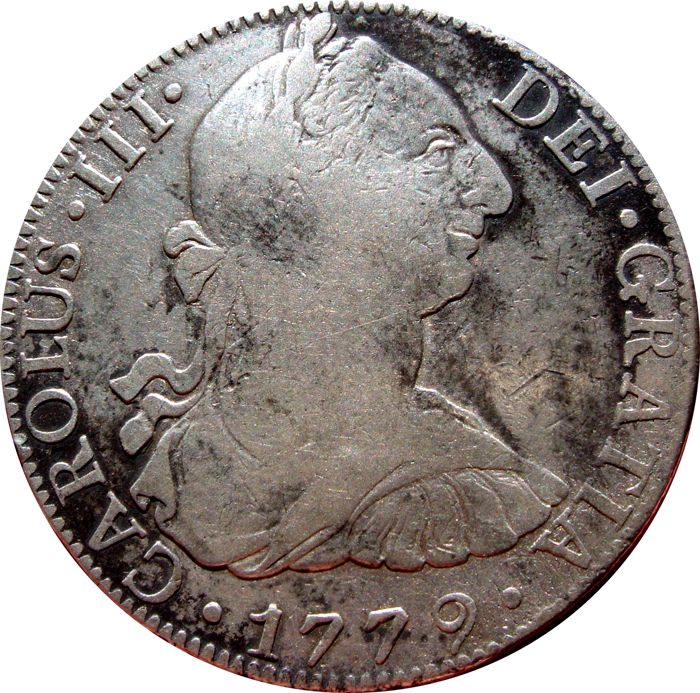 Spain - Carlos III, 8 silver Reales struck in the mint of Mexico, 1779. Assayer F.F. Scarce.