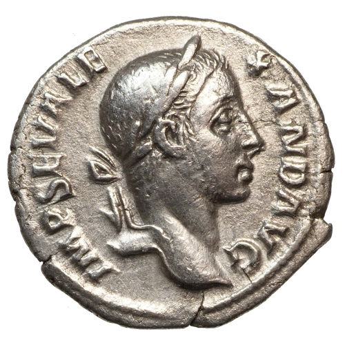 Roman Empire – Severus Alexander (222-235) AR Denar, Rome, EMPEROR with lance and globe