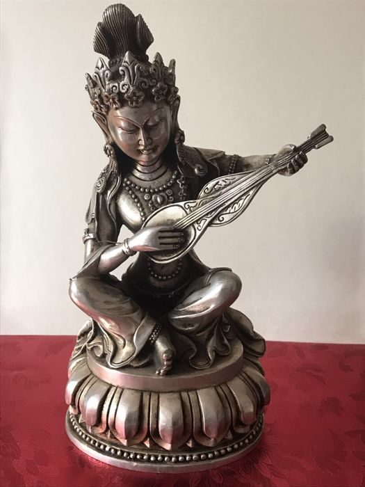 Metal Kwan Yin with lute - China - 21st century