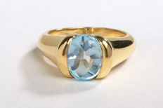 Ring - 18 kt yellow gold - Blue topaz 1.75 ct - Size 53