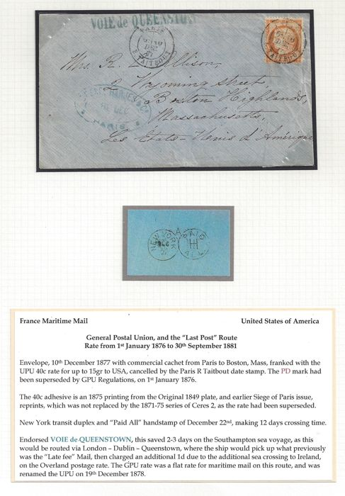 Frankrijk 1877 - Siege of Paris Issue, French Maritime mail, Letter with - 40c rate to America (Boston, Mass.)