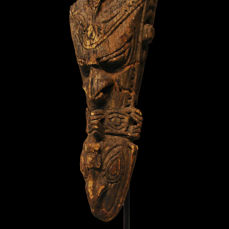 Old Canoe Prow Carved with an Ancestor and 5 Animals-SEPIK Papua New Guinea