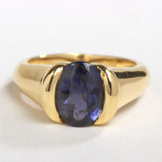 Ring - 18 kt yellow gold - Iolite 1.75 ct - Size 52