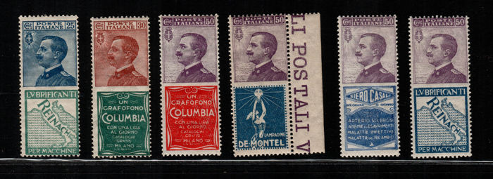 Italy, Kingdom 1924/1925 – Advertising stamps - Sass. nos. 7; 9; 11/12; 14/15