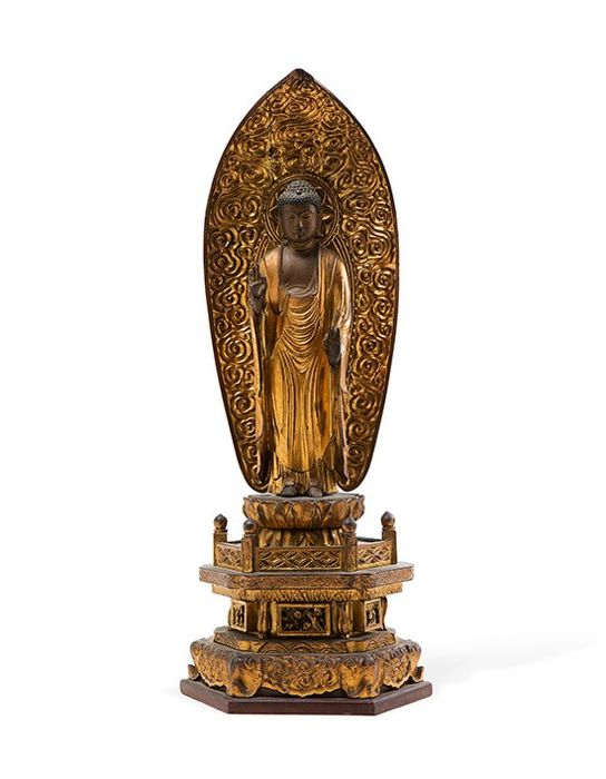 Amida Boeddha, Beeld - Giltwood - Magnificent Carved Gilded Wood Standing Amida Buddha - late 18th century - Japan - Edo Periode (1600-1868)