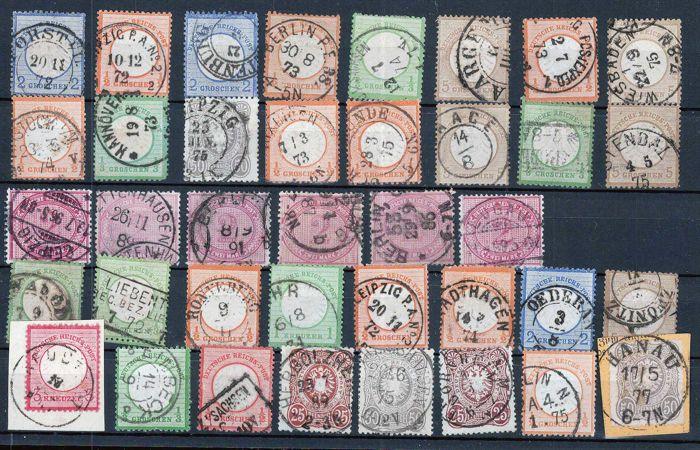 German Empire 1860/1870 - lot of breastplate stamps, Pfennig, colours and better cancellations