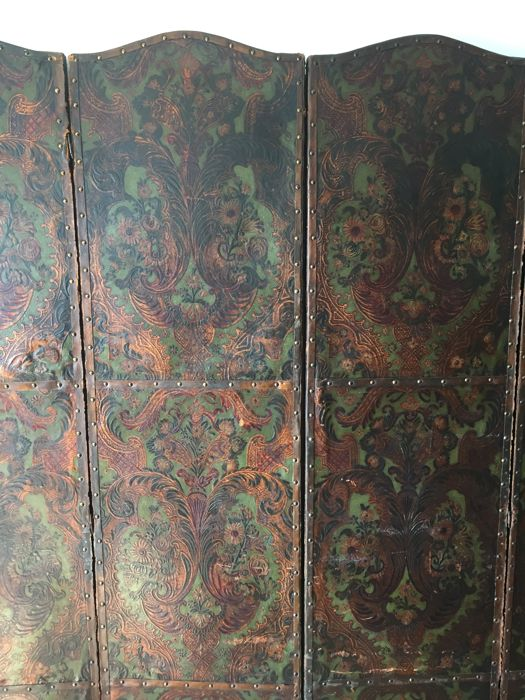Embossed and gilt cordovan leather folding screen, Baroque style, 19th century