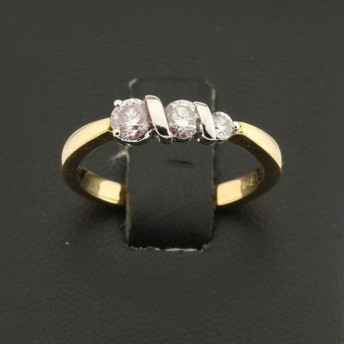 Ring in 18 kt Gold and 0.45 ct Diamond - Size 52, Modifiable