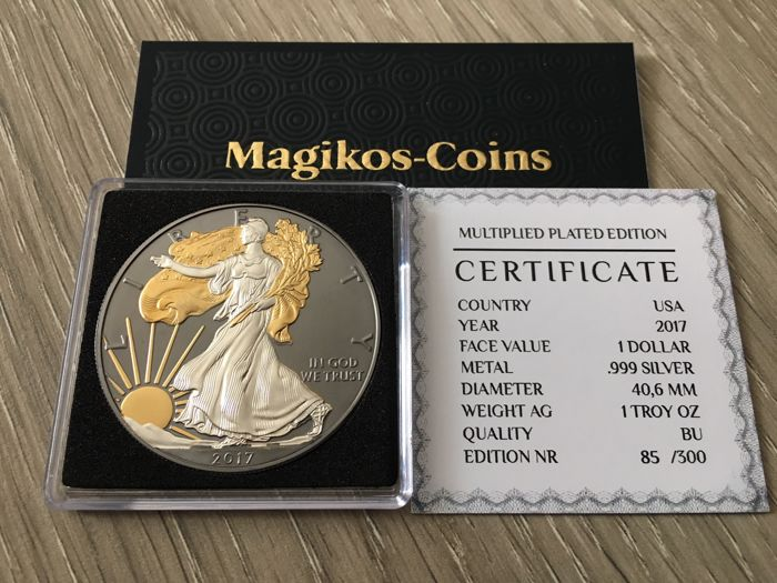 États-Unis - 1 Dollar 2017 American Eagle - Multiplied plated 1 oz - Argent