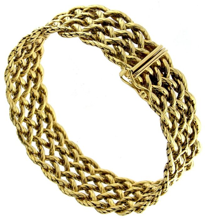 Chain mail bracelet in 18 kt yellow gold