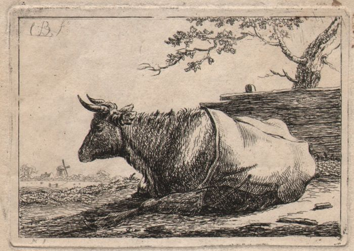 Christiaan Bisschop ( The Hague 1762-1827 )  - Resting cow in a landscape