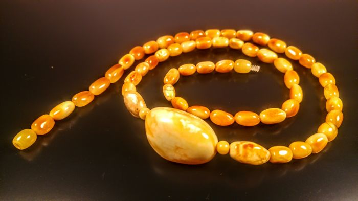 Genuine Egg yolk colour Baltic Amber necklace, 25 grams