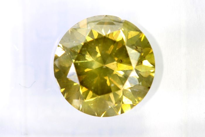 Fancy INTENSE Greenish Yellow Diamond - 3.02 ct - SI2 - * NO RESERVE PRICE *