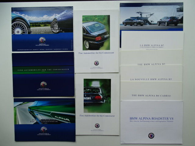1999 - 2012 - ALPINA B.M.W. B3 Biturbo, B3 GT3 Coupé, B3 Coupé Allrad, B3 Biturbo, B10 V8, B12, Roadster S, D10, B6 Convertible, B7, etc - Mixed lot of 11 original sales brochures