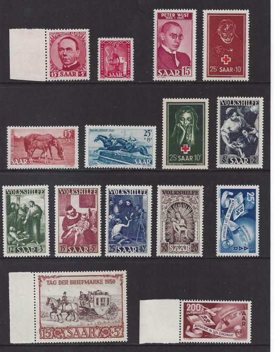 Saarland 1948/1951 - Various issues - Michel 252/254, 267/271, 289, 290, 291 and P33/P44