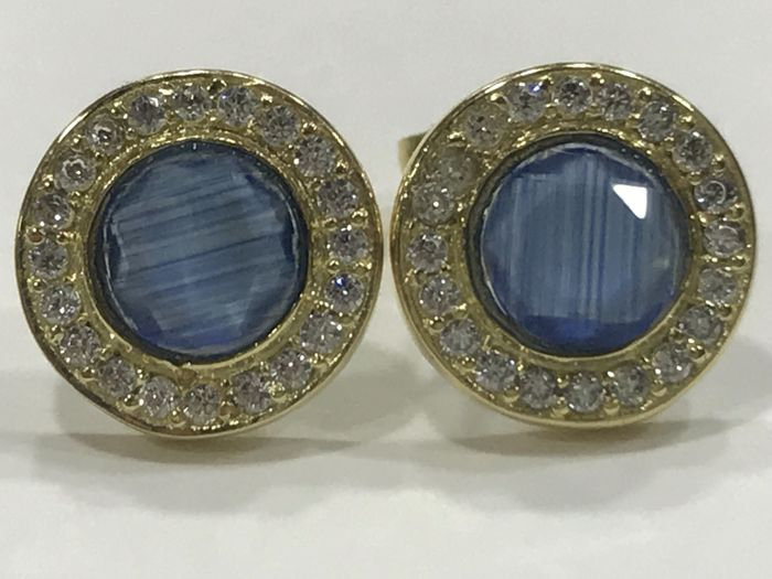 Earrings in 18 kt gold with sapphire