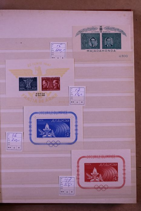 Romania 1941/1990 - Batch of blocks and small sheets in stock book