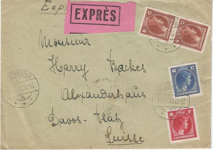 Luxembourg 1946 express letter from bascharage 12 6 1946 to luxembourg 1946 express letter from bascharage 12 6 1946 to switzerland davos spiritdancerdesigns Image collections