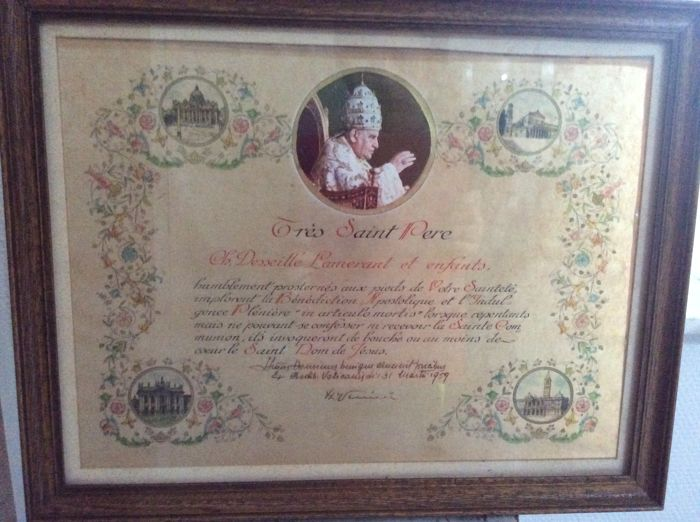 Apostolic Blessing and the Indulgence (family) by John XXIII. Signed and stamped on the back 1959