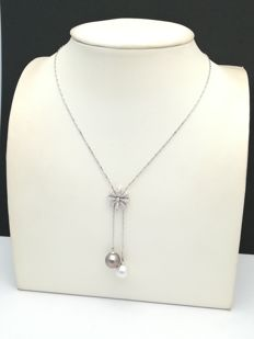 18 kt white gold choker with brilliant cut diamonds of 0.55 ct and Australian and Tahitian pearls