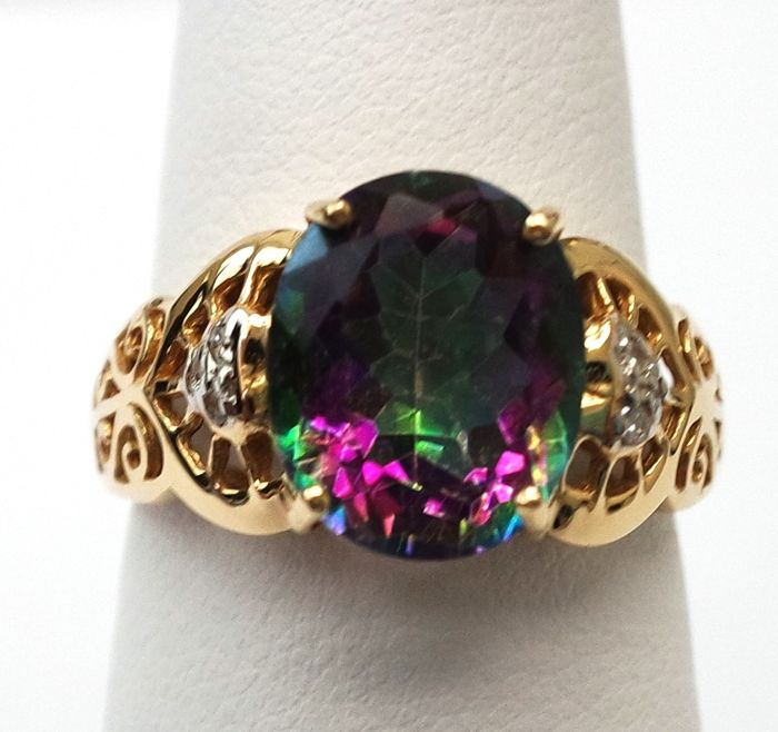 14ct yellow gold Mystic Topaz diamond ring Size O