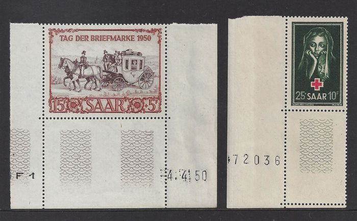 Saarland 1950/1951 - Stamp exhibition IBASA and Red Cross - Michel 291 Br and 304, including Michel 291 with coin date