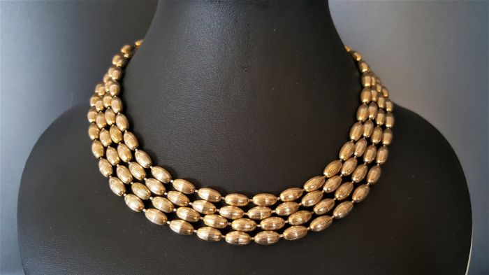 Vintage very long NAPIER antique gold toned textured necklace from 1950's