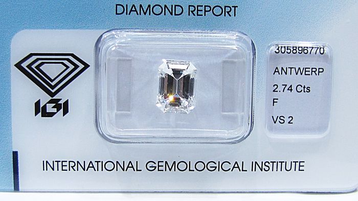 Collection Stones - IGI ANTWERP - Emerald cut diamond 2.74 ct - F/VS2