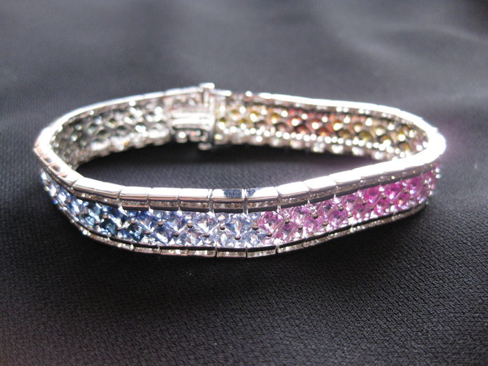 Multicolour sapphire and diamond women's bracelet