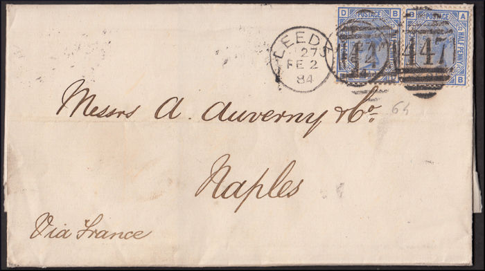 Great Britain - Lot of four stamped letters with various issues from Queen Victoria, all sent to Italy
