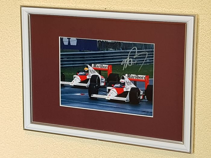 Alain Prost & Ayrton Senna - Eternal Rivals Formula 1 - Framed photo hand signed by Prost + COA.