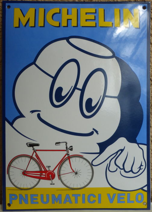 Emaille Michelin fietsbord - pneumatic velo