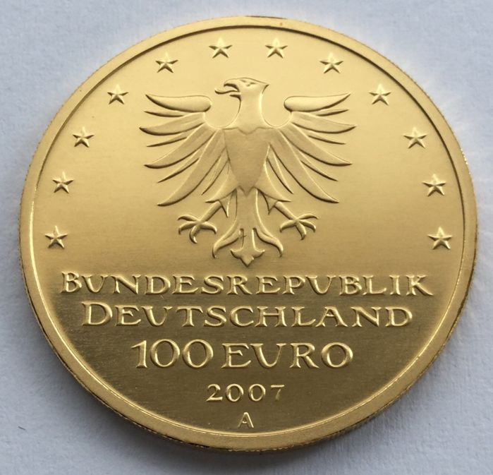 Germany – 100 Euro 2007 A  'Unesco World Heritage City Lübeck' – ½ oz gold