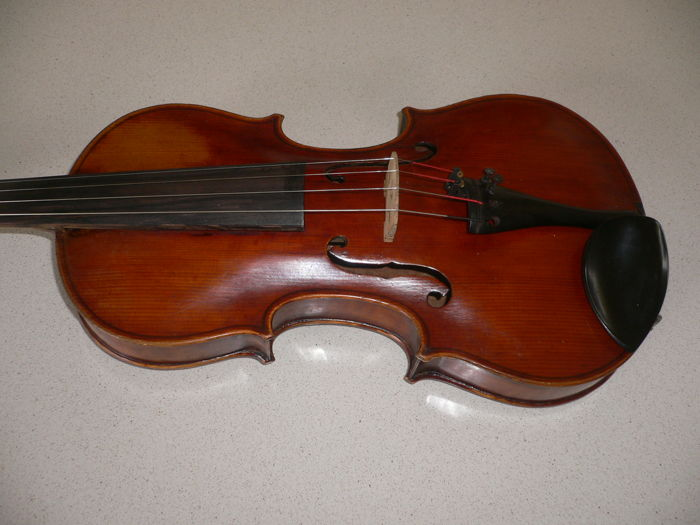 "Beautiful ""flamed"" old German 4/4 violin + 100years, STEINER/model with balanced, full sound, with well-repaired crack"