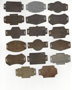 """Collection of nice, copper """"Rijwielbelasting"""" plaques from the Art Deco period"""