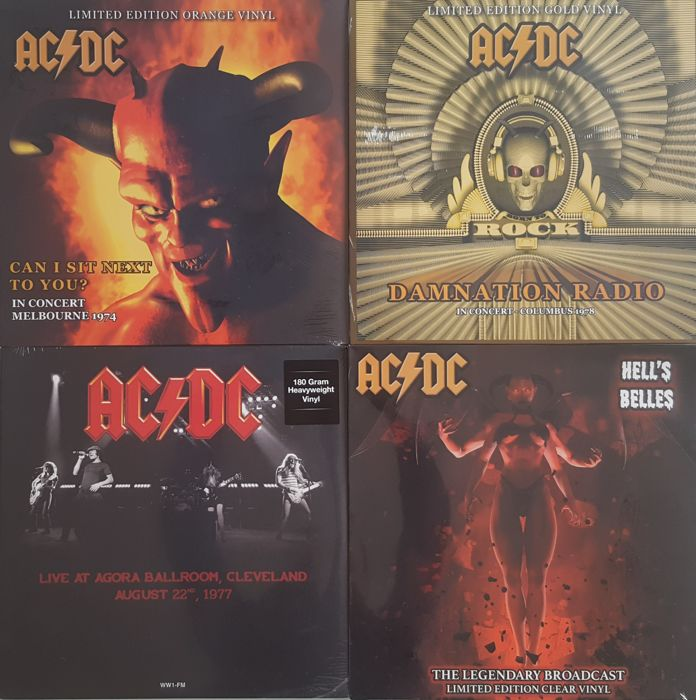 AC/DC - Lot of 4 LP Unofficial Live Limited /  Live At Agora Ballroom, Cleveland / Hell's BellesThe Legendary Broadcasts /  Damnation Radio  / Can I Sit Next To You? / Sealed