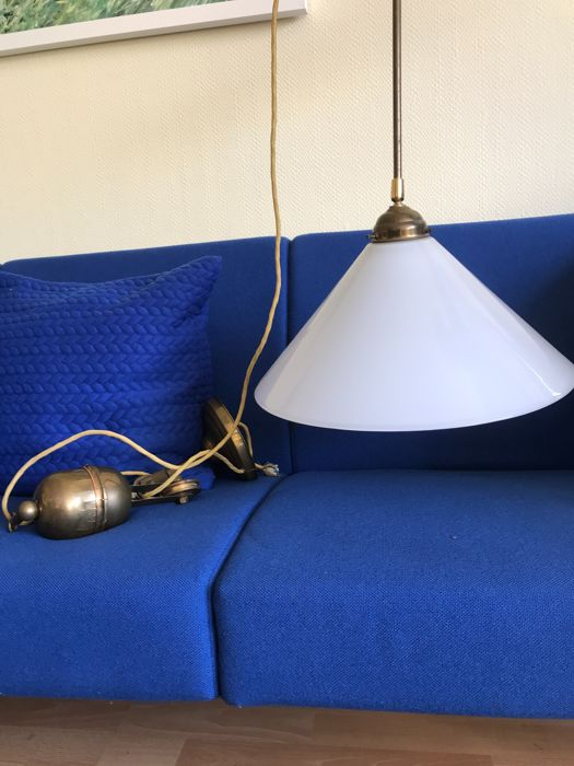 Berliner Room Lamp With Pulley And Counterweight Made Of Copper And