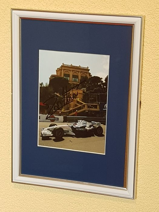 Jacques Villeneuve - Worldchampion Formula 1 -  hand signed framed Monaco photo + COA.