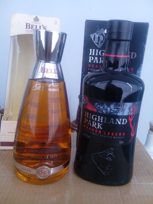 2 bottles - Highland Park Dragon Legend & Bell´s Millennium 8 years old