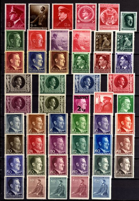 German Empire Deutsches Reich 1937/1945 – WWII, Very Rare selection stamps and series of Adolf Hitler MNH. Blocks used. 4 Pages.