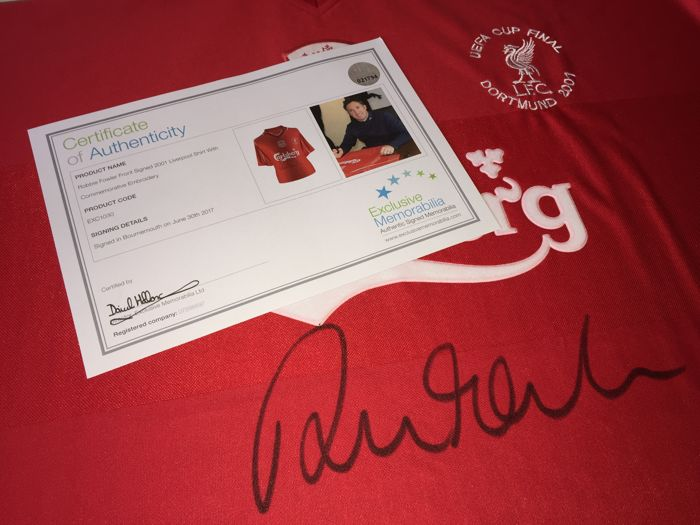07d614d9a8c Robbie Fowler   Liverpool FC - Hand Signed Uefa Cup Final 2001 shirt + COA    Photoproof.