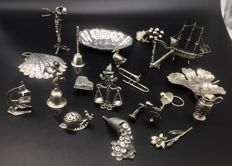 Large lot of 800 sterling silver collectible miniatures