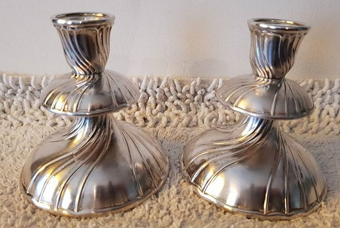 Set of silver plated candle stands Hutschenreuther