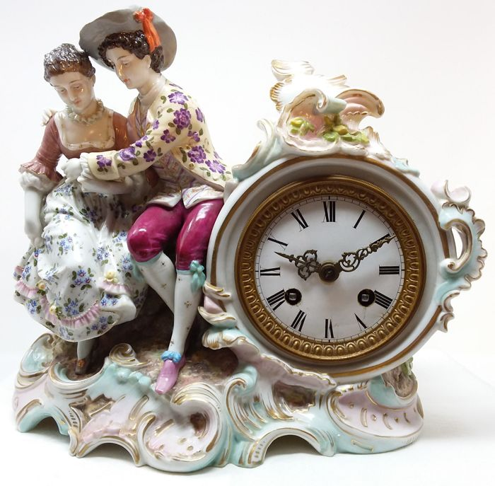 German porcelain clock - Lenzkirch movement - Ca. 1860-80