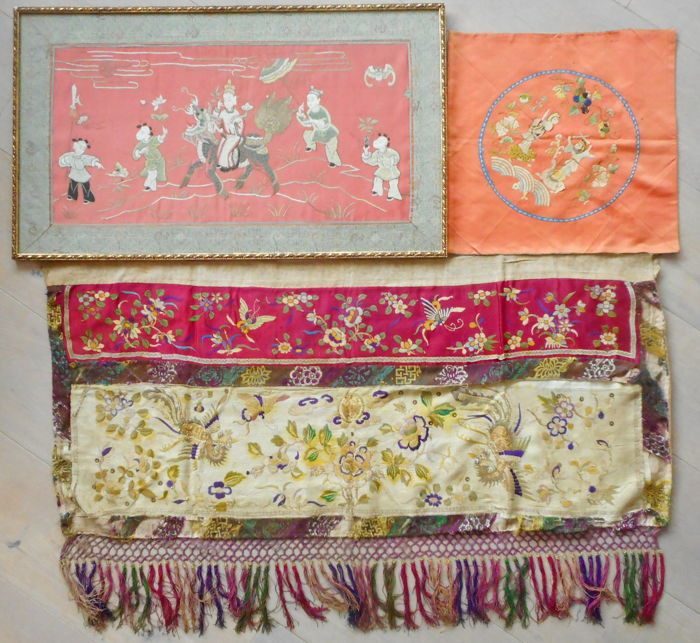 Three pieces of embroidery  embroided silk temple banner phoenix foo dog guardian lion - China - late 19th century - unframed ( Qing dynasty)