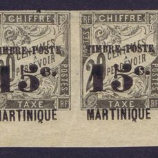 "Martinique 1891/92 – type ""Martinique absent"" –  horizontal pair – Maury n°20b – signed and with Calves  certificate"