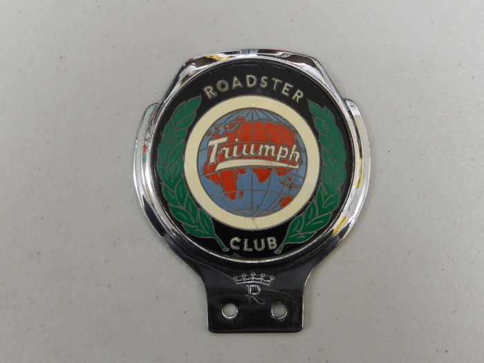 "Vintage Triumph Roadster Club Renamel 70's Chrome Car Badge in Used Condition 4.25"" x 3.75"" approx"
