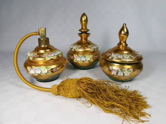Bohemia - finely decorated set, bottle, lidded pot and perfume atomiser